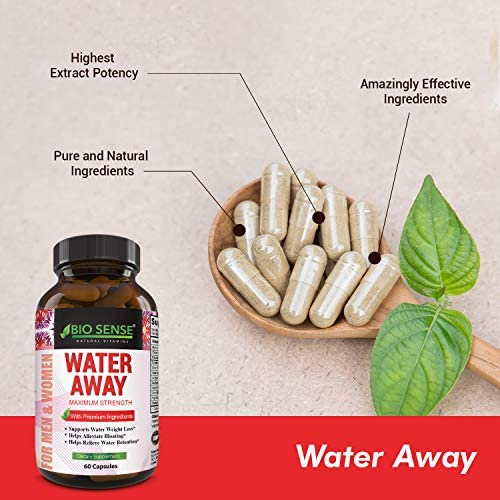 Natural Diuretic Water Away Pills Vitamin B6 Potassium & Dandelion Root Extract Water Retention Anti-Bloating and Swelling Capsules Weight Loss for Women & Men with Antioxidant Green Tea by Bio Sense 8