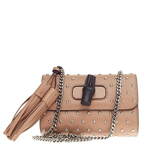 51R0XkjaHNL Gucci Lady Bamboo Studded Leather Chain Shoulder Evening Handbag 387612 A88EN 2754 Measures 4.5 inches height x 7 inches width x 1.5 inches depth Crafted from rose beige grainy leather with silver stud embellishment