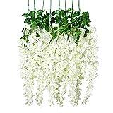 Unomor 12 PCS Wisteria Artificial Flowers Fake Hanging Flowers Vine Garland for Wedding Decorations - 3.25 Feet
