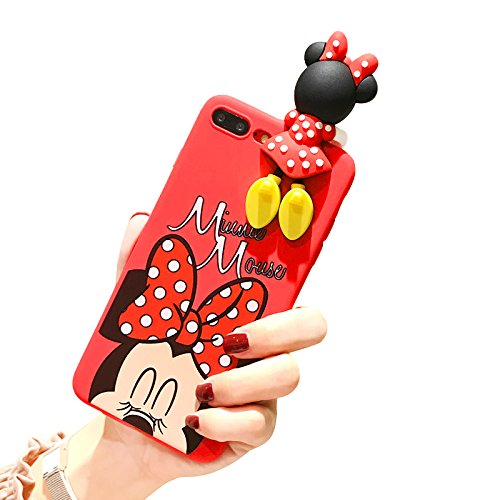 Red Minnie Mouse with Doll Cover for iPhone 7plus 8plus Large Size 5.5 Screen Soft TPU Gel 3D Disney Cartoon Slim Shockproof Protective Cool Fun Lovely Cute Fashion Hot Gift Girls Teens Kids