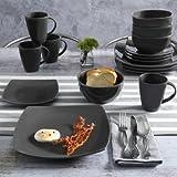 Contemporary Soho Lounge Square Stoneware Geometric Pattern 16-piece Dinnerware Set (gray)
