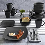 Contemporary Soho Lounge Square Stoneware Geometric Pattern 16-piece Dinnerware Set (gray)