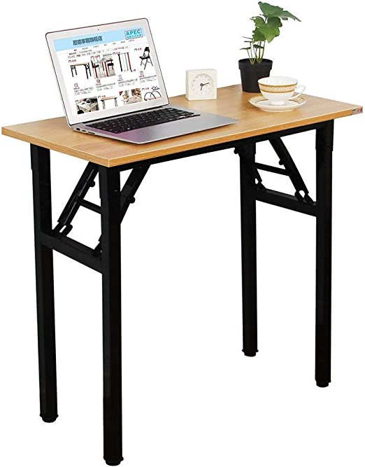 Amazon Com Need Small Desk 31 1 2 Width Folding Desk No Assembly Required Sturdy And Heavy Duty Desk For Small Space And Laptop Desk Damage Free Deliver Teak Color Desktop Black Steel Frame