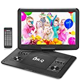 DR.Q 14.1'' Portable HD DVD Player for Car Travel with 5 Hours Rechargeable Battery, 1280x800 Swivel Screen, Remote Control, 5.9ft Car Adapter, Supports SD Card, USB Port and Multiple Disc Formats-Bla