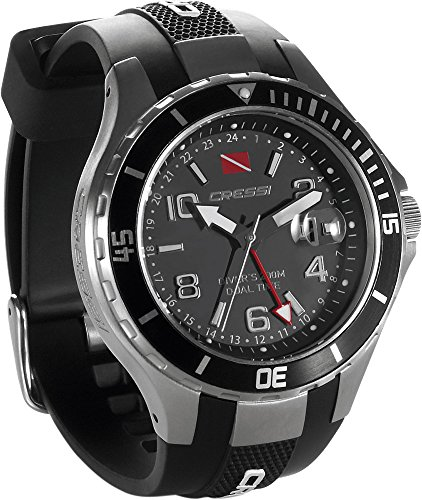 Cressi Traveller Dual Time Water Resistant Watch - Black/Grey