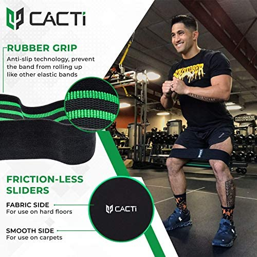 Fabric Resistance Bands & Core Sliders Exercise Set - 3 Booty Bands & 2 Strength Slides for Legs, Butt, Hips, Glutes, Abs, Shoulders & Arms - Non Slip & Non-Rolling (Bands & Sliders) 3