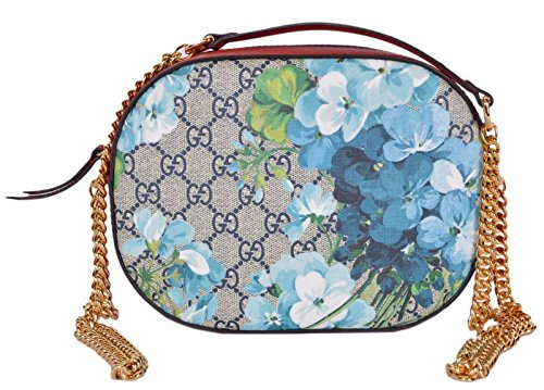 """51R8iR6bezL GG Supreme Coated Canvas, Gucci Blooms and GG Guccissima Pattern Golden Crossbody Chain with a 22"""" Drop, Top Zip Close, Red Leather Trim Suede Lining, Measures 8.5"""" x 6"""" x 2"""", Made in Italy"""