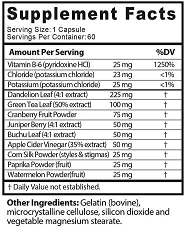 Natural Diuretic Water Away Pills Vitamin B6 Potassium & Dandelion Root Extract Water Retention Anti-Bloating and Swelling Capsules Weight Loss for Women & Men with Antioxidant Green Tea by Bio Sense 11