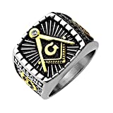 Artisan Owl Freemasons Masonic IP Gold and Burnished Square Face Stainless Steel Casting Ring (13)