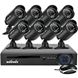 Zclever 8CH Home Security Camera System 1080N Video Surveillance DVR with 8pcs 720p 1200TVL Night Vision Weatherproof Cameras, Motion Detection, Easy Remote View No Hard Drive