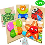 Dinana Wooden Animal Jigsaw Puzzles for Toddlers 1 2 3 4 Years Old, Educational Toys Gift with 5 Pcs Chunky Bright Vibrant Color Shapes Lovely Animal, Free Drawstring Bag for Easy Storage