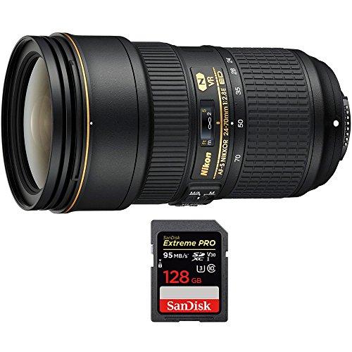 Nikon 24-70mm f/2.8E ED VR AF-S NIKKOR Zoom Lens Nikon Digital SLR Cameras (20052) Sandisk Extreme Pro SDXC 128GB UHS-1 Memory Card