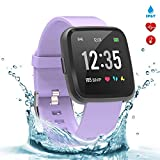 BingoFit Legend Smart Watch Fitness Tracker, Activity Tracker 1.3'' IPS Color Screen Health Watch IP67 Waterproof Fitness Watch HR BP Oxygen Sleep Monitor, Pedometer Watch for Women Men Kids(Purple)
