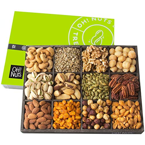 Oh! Nuts 12 Variety Mixed Nut Gift Basket, Holiday Freshly Roasted Healthy Gourmet Snack Gifts| Premium Wood Tray | Prime Christmas Food Baskets for Men & Women, Fathers & Mother's Day Unique Idea