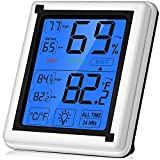 Large Touchscreen Digital Hygrometer Indoor Thermometer Humidity Monitor with Backlight for Home, Office, Nursing Room, Greenhouse, Warehouse and More (Battery Included)