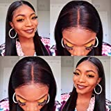 ORIGINAL QUEEN Straight Lace Front Wig With Pre Plucked Hairline Human Hair 13x4 Lace Frontal Wigs Jet Black Color 16inches