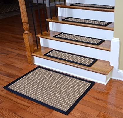 Indoor Outdoor Flatweave Carpet Stair Treads Timbuktu Black 13   Outdoor Carpet For Stairs   Navy Pattern   Artificial Grass   Front Entrance   Heavy Duty   Mosaic