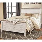 Ashley Furniture Willowton Queen Panel Bed in Whitewash