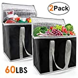 Insulated-Grocery-Bag-Thermal-Cooler-Shopping-Tote 2 Pack for Hot Cold Frozen Food Transport X-Large 60LBS Reusable and Durable with Zipper Top Long Handles Collapsible Black