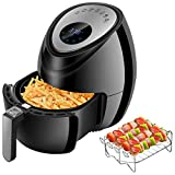 Digital Deep Air Fryer Cooker - 1500W Power Electric Hot Air Cooker with 7 Cooking Preset, Digital Touch Screen, Detachable Basket Dishwasher Safe, Recipes Included (3.8QT)