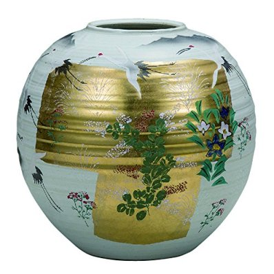 Jpanese traditional ceramic Kutani ware. Ikebana flower vase. Gold leaf autumn weeds. With wooden box. ktn-K5-1323