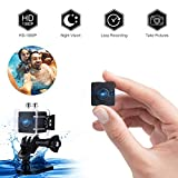 Mini Spy Camera Hidden Camera, Nanny Cam 1080P Sports Waterproof Camera 155 Degree Wide Angle Lens Indoor Home Security Camera with Night Vision/Motion Detection, Waterproof Up to 30 Meter(98 Feet)