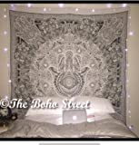"Exclusive Hamsa Hand Branded Tapestry For Goodluck By ""The Boho Street"", Indian Mandala Wall Art, Hippie Wall Hanging, Bohemian Bedspread"
