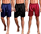 Mobarta Men's Satin Boxers Silk Sleepwear Underwear Shorts Lounge Beach Shorts (3 Pack(Blue+Black+Red), XX-Large(Waist 40'-44'))