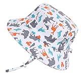 JAN & JUL Fun Toddler Boys Girls Adjustable Cotton Sun Hats 50 UPF, Stay-on Tie (M: 6-24m, Bucket Hat: Woodland)