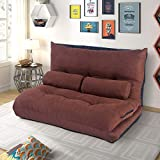 Merax Floor Sofa Bed 5-Position Recliner Lazy Sofa Futon Sleeper Bed Sofa Couch with Two Pillows for Living Room(Coffee)