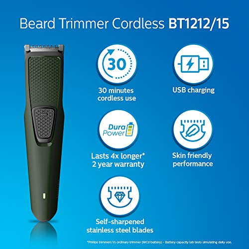 51RZu6a8SjL Philips BT1212/15 USB charging cordless rechargeable Beard Trimmer