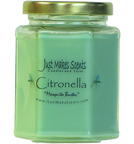 Citronella (Mosquito Repellant) Scented Blended Soy Candle for INDOOR Use by Just Makes Scents (8 fl oz)