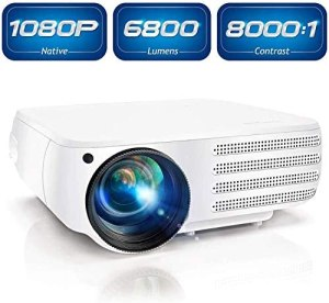 Projector 1080P Native 6800 Lumens HDMI Movie Projector, ±50° 4D Keystone Correction for Home,Office,Entertainment