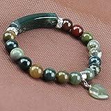 Handmade Gemstone Bange 7.2' Elastic Bracelet Match Heart-shaped Beads Indian agate