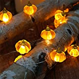 BOHON Halloween Lights 3D Jack-o-Lantern 10ft 30 LEDs Pumpkin String Lights Battery Powered Orange Lights for Halloween Party Indoor Fall Outdoor Harvest Thanksgiving Decorations