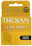 Trojan Stimulations Ultra Ribbed Lubricated Condom, 3 Count (Pack of 3)