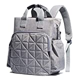 Diaper Bag Backpack for Mom or Dad with Stroller Straps, Changing Pad, Insulated Pockets | Waterproof Baby Diaper Bag, Organizer Pouches, Nappy Tote Bag for Girls or Boys | SoHo Kenneth Classic Gray