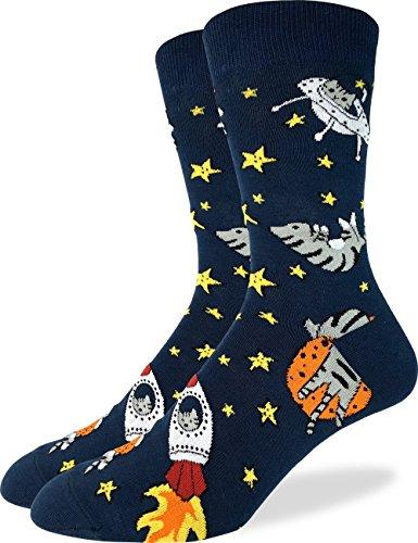 Good-Luck-Sock-Mens-Space-Cat-Crew-Socks-Blue-Shoe-Size-7-12