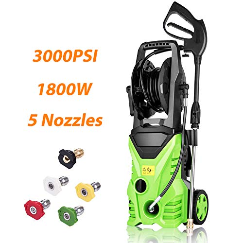 Flagup 3000 PSI Electric Pressure Washer 1800W High Pressure Power Washer Machine with Hose Reel, Rolling Wheels + 5 Interchangeable Nozzles(1.7GPM)