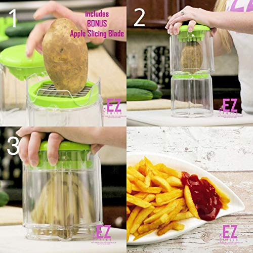 EZFries French Fry Cutter with Super Sharp Stainless Steel Blades, Crisp Perfect Cuts. Slices Tomatoes, Cucumber, Onion. Bonus Apple Slicer, Easy to Clean, Compact Storage,