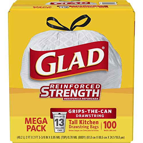 Glad Tall Kitchen Drawstring Trash Bags - 13 Gallon - 100 Count (78374)