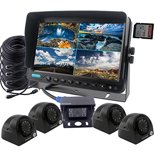 CAMSLEAD-Car-Backup-Camera-System-9-inch-Monitor-Built-in-DVR-Recorder-with-Quad-Split-Screen-CCD-Waterproof-Night-Vision-Side-Camera-Rear-View-Camera-Monitor-Kit-for-Truck-Van-Caravan-Trailers