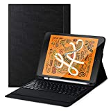 Feitenn iPad Mini 5 Keyboard, Mini 5th Gen 2019 Tablet Keyboard Case Sleep/Wake Smart Cover Charge Support Pencil Slot Holder PU Folio Stand Wireless Bluetooth Keyboard for iPad Mini 5 7.9'' - Black