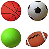 """AppleRound Pack of 4 Sports Balls with 1 Pump: 1 Each of 5"""" Soccer Ball, 5"""" Basketball, 5"""" Playground Ball, and 6.5"""" Football (1-Pack, 4 Balls+1 Pump)"""