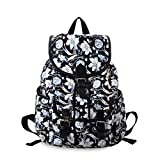 DGY Black Canvas Floral Printed Backpack 3 Pieces School Rucksack for Teen Girls (Flower 1 Pc)