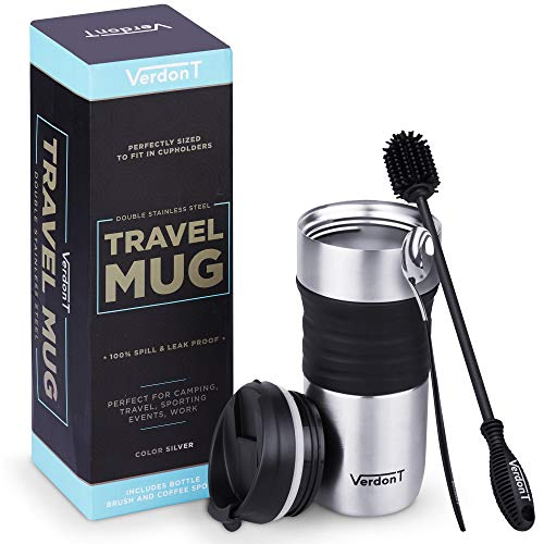 Spill Proof Travel Coffee Mug: 16 oz Stainless Steel Coffee Mugs - Double Wall Vacuum Insulated Thermal Tumbler for Hot or Cold Drinks - Portable Coffee Cup with Leakproof Lid, Spoon and Bottle Brush