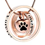memorial jewelry Forever in My Heart,No Longer by My Side Cremation Pet Urn Necklace Screw Opens and Lock Ashes Pendant Jewelry for Dog Cat (Rose Gold)