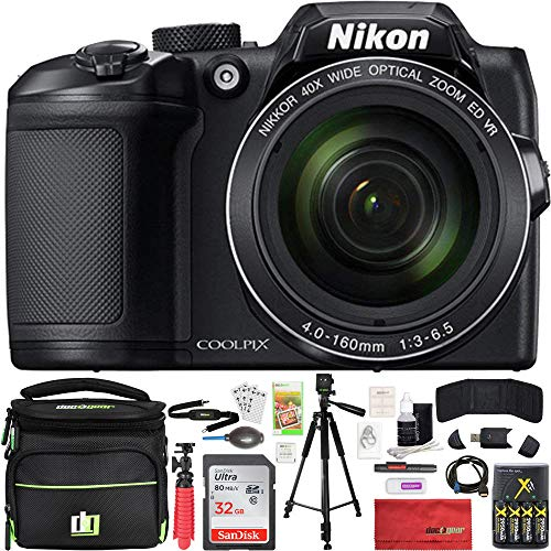 Nikon COOLPIX B500 16MP 40x Optical Zoom Digital Camera 32GB Bundle Includes Camera, Bag, 32GB Memory Card, Reader, Wallet, Batteries + Charger, HDMI Cable, Tripod, Beach Camera Cloth and More