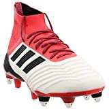 adidas Mens Predator 18.1 Soft Ground Soccer Casual Cleats, Red;White, 10