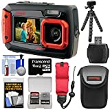 Coleman Duo 2V9WP Dual Screen Shock & Waterproof Digital Camera (Red) with 16GB Card + Case + Float Strap + Flex Tripod + Kit